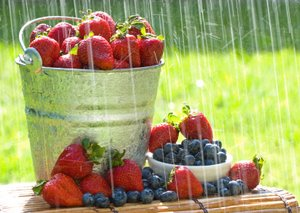 bucket of strawberries and blueberries