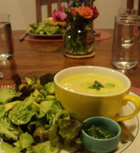 corn chowder and parsley relish