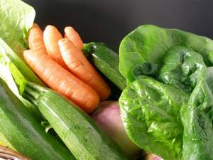 carrots, zucchini, spinach